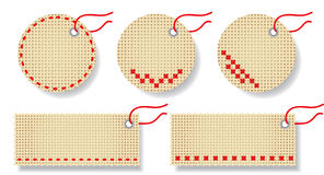Labels made of natural fabric with embroidery. Vector illustration Vector Illustration