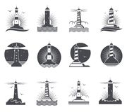 Labels marins de vintage de vecteur de phare Phares et logos nautiques de ressacs rétros réglés Photo stock