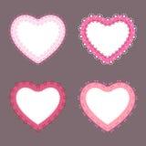 4 labels mignons de coeur de frontière de dentelle Images stock