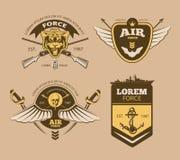 Labels militaires de vecteur de vintage de désert Image stock