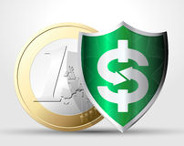Labels - money protection. Labels - money and savings protection concept Stock Image