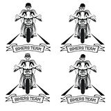 Labels with motorbike and skull Stock Images