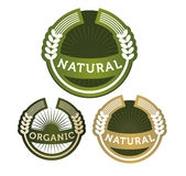 Labels natural organic cereal Royalty Free Stock Images