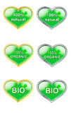 Labels for natural products bio, organic, natural. Set of labels for natural products bio, organic, natural silver and gold variation Royalty Free Stock Photo
