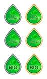 Labels for natural products bio, organic, natural. Set of labels for natural products silver and gold variation bio, organic, natural Royalty Free Stock Photo