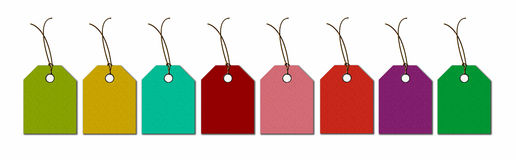 Labels in the new colors for sale bargains and discounts. Stock Image
