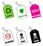 Labels No.1. Six various colored warning and health labels Vector Illustration