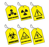 Labels No. 2. Illustration of six yellow warning labels Royalty Free Illustration