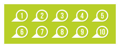 Labels with numbers. On green Royalty Free Stock Image