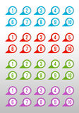 Labels with numbers. Blue, red, green and purple arrows Stock Images