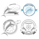 Labels Of Marlin Fishing Emblems Badges Design Elements Eps 10 Stock Image