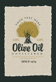 Labels for olive oils Stock Photo
