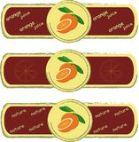 Labels. Orange, sliced Orange, green leaves on light yellow background, painting, Burgundy, khaki frame Stock Photography