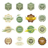 Labels 100% Organic and Natural Food Stock Photos