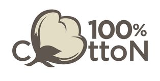 Labels ou logo de coton pour l'étiquette naturelle pure de textile de coton de 100 pour cent Photo stock