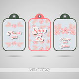 Labels Pink Flowers Royalty Free Stock Image