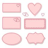Labels pink with sewing stitches Stock Photo