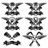 Labels with pistons and skulls with wings. Biker theme labels with pistons and skulls with wings Stock Photo