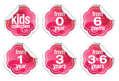 Labels for production for children of small age Stock Image
