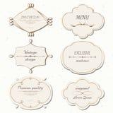 Labels réglés de vintage de vecteur et style de cadres rétro illustration de vecteur