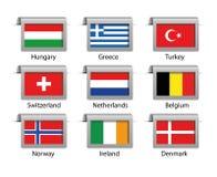 Labels réglés par drapeaux Photographie stock