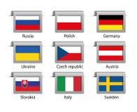 Labels réglés par drapeaux Photo stock