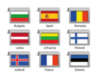 Labels réglés par drapeaux Image stock