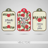 Labels Red Flowers Stock Image
