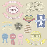 Labels and ribbon retro style set. Royalty Free Stock Image
