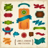 Labels, ribbons and stickers Royalty Free Stock Photography