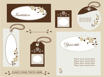 Labels romantic brown. Set of design elements with flowers Stock Illustration
