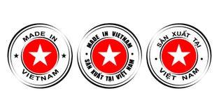 Labels ronds et x22 ; Fait dans Vietnam& x22 ; avec le drapeau Photo stock