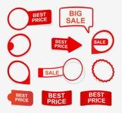 Labels rouges de papier de collection sous forme d'autocollants Éléments de conception Photographie stock
