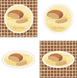 Labels with rye bread and wheat ears on the gunny. Background. Illustration Stock Photography