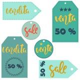 Labels  sale illustration. Vector sticker illustration. Sale, vente, venta, vendita. Labels in different languages Stock Images