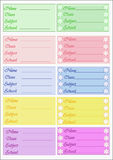 Labels school. For exercise book and books Stock Photos