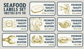 Labels with seafood. Set templates price tags for shops and markets of organic food. Vector illustration art. Vintage. Labels with seafood and fishes. Set Stock Photography