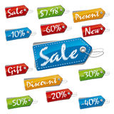Labels Set. Discount, Sale and Price Stitched Labels. Vector Illustration (EPS v.8.0 Royalty Free Stock Images