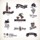 Labels set. Food and drinks, restaurant and cafe Stock Photo