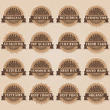 Labels set. Set of 16 labels; vintage style royalty free illustration