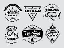 Labels set of adventure and nature explore. Outdoors camp and wildlife. Vector monochrome illustrations. Vintage traveling expedition logo and badge Stock Photos