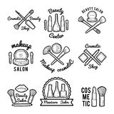 Labels set for beauty salon. Monochrome pictures set of different makeup tools Royalty Free Stock Photo