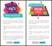 Labels Set -25 Best Ddiscoun One Day Special Pprice. Labels set -25 best discount, only one day special price web pages collection with text sample, headline and Stock Photos