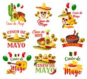 Labels set for Cinco de Mayo. Cinco de Mayo labels vector. Federal holiday in Mexico Cinco de Mayo. Different symbolic signs with chili or hat, maracas and stock illustration