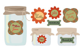 Labels Set. Collection of labels with Jars of Jelly and Jam Royalty Free Stock Photography