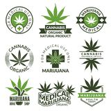 Labels set with different pictures of marijuana plants. Medical herbs, cannabis leaf. Marijuana narcotic badge medicinal illustration Stock Photography