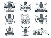 Labels set for fencing sport. Monochrome pictures of rapiers, sword mask and other equipment vector illustration