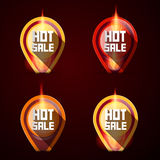 Labels Set in Flames - Fire. Hot Sale Stickers - Labels Set in Flames - Fire Royalty Free Stock Images
