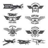 Labels set with illustrations of vintage airplanes. Travel pictures and logo for aviators stock illustration