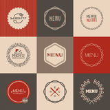 Labels' set for restaurant menu design. Vector illustration Royalty Free Stock Image